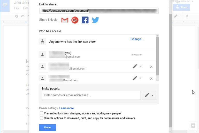 Who has access list in Google Docs
