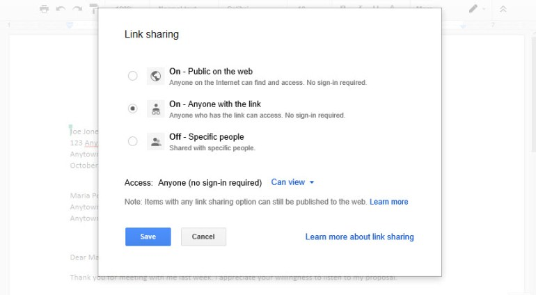 Changing view options in Google Docs