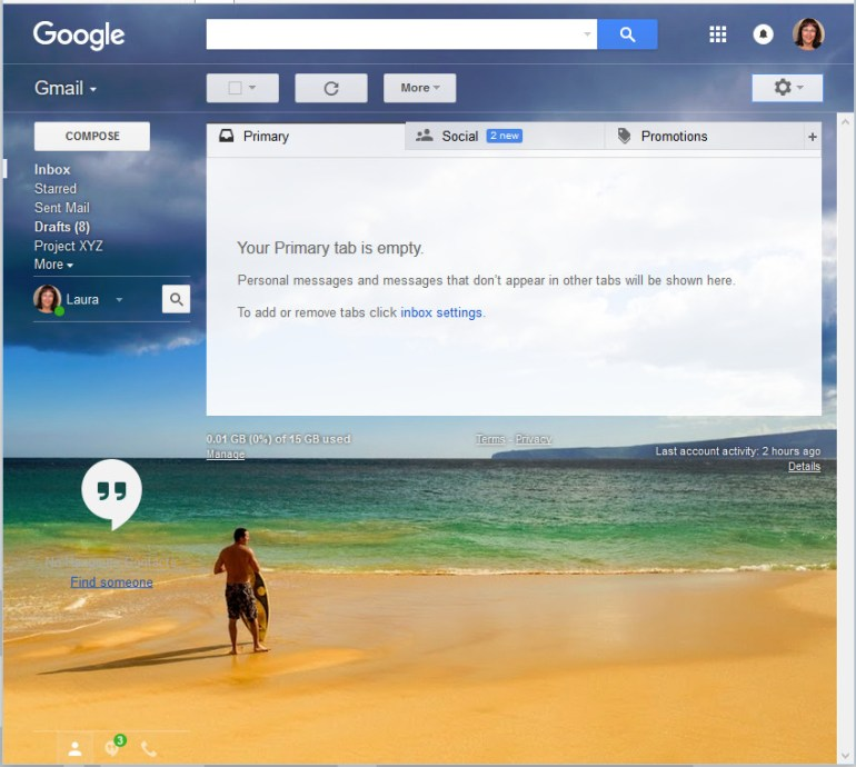 As you can see Ive chosen a restful beach scene with a surfer as my Gmail theme