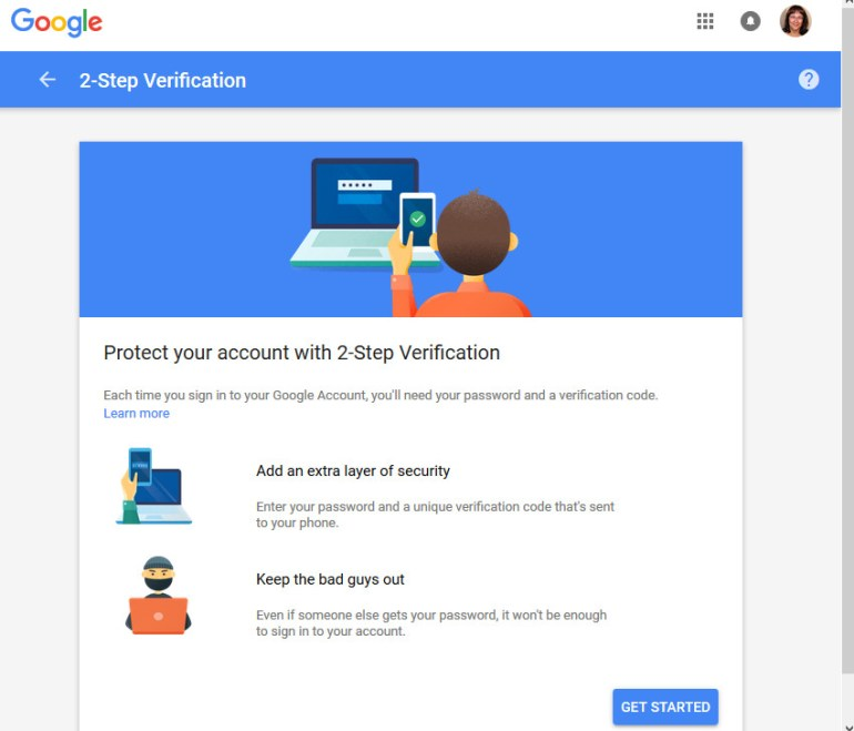 2-Step Verification screen