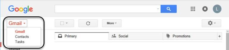 Drop-down menu with Gmail Tasks option