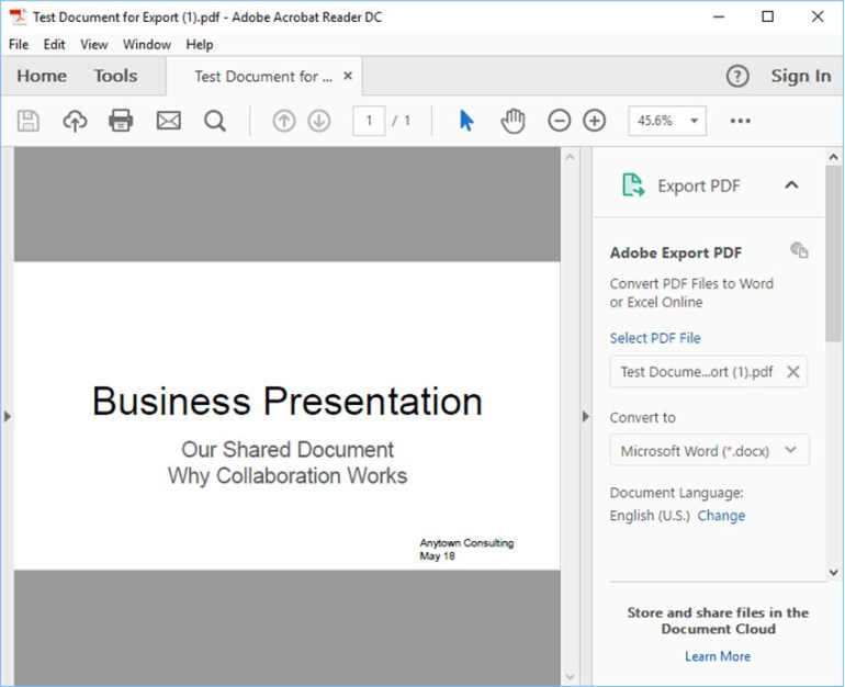 Google Slides presentation in Adobe Acrobat Reader
