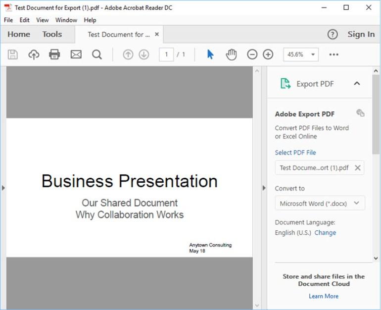 Google Slides presentation in Adobe Acrobat Reader