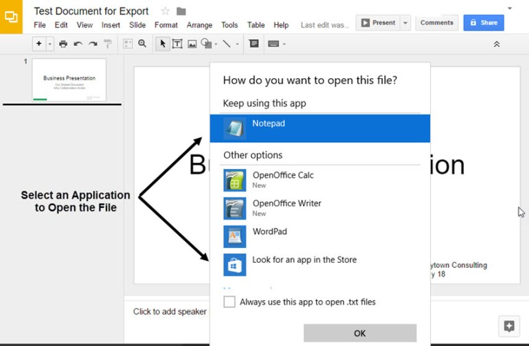 Google Slides open export choices