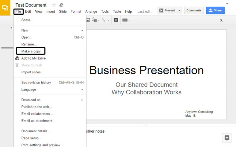 Google Slides Make a Copy