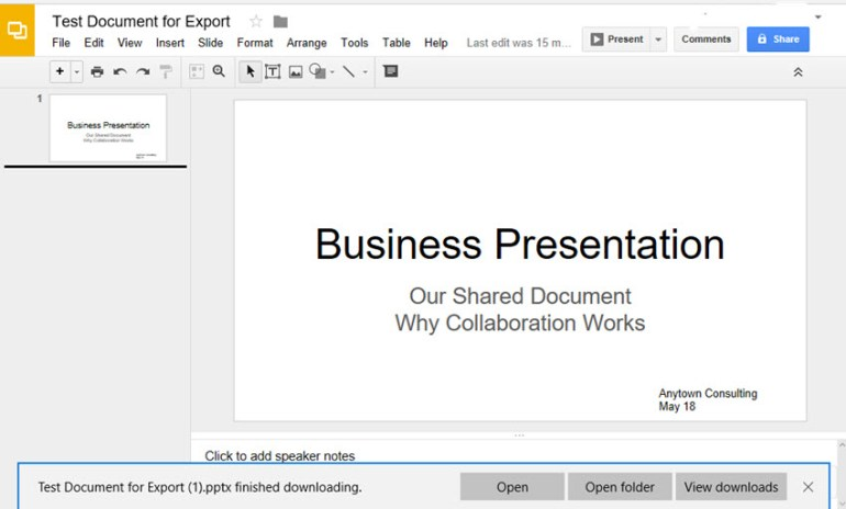Google Slides to PowerPoint options