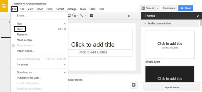 Open a Google Slides presentation