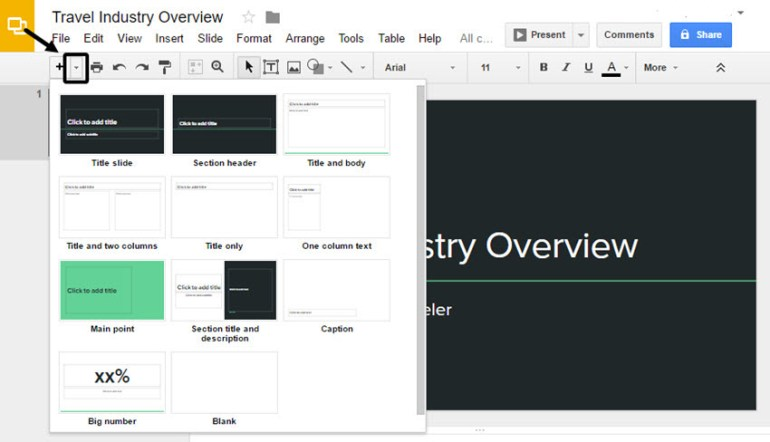 Google Slides Presentation Layout Options