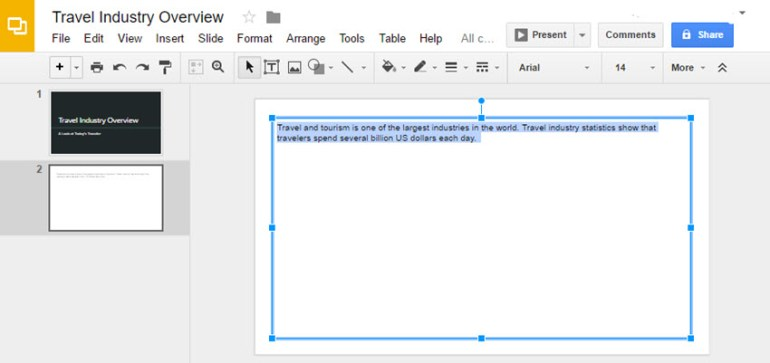 Select Text in Google Slides Presentation