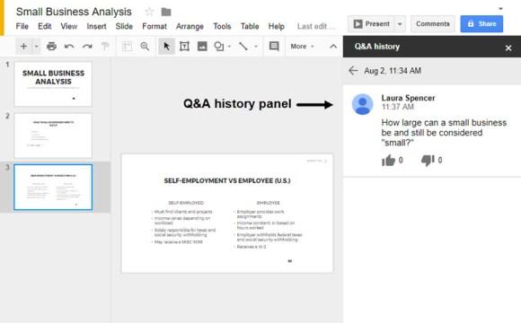 Pertanyaan pemirsa sebelumnya di Google Slides