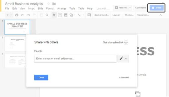 Kotak dialog Google Slides Share