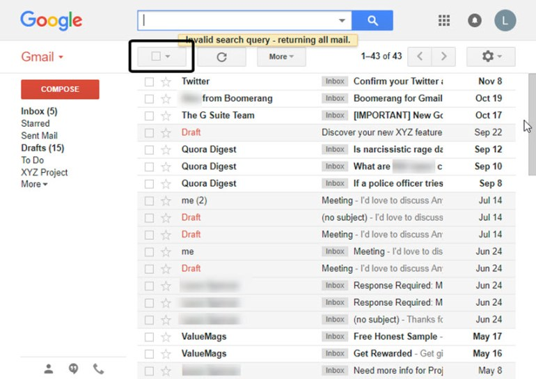 Delete all emails in Gmail using the Batch Select checkbox