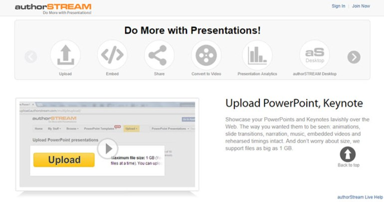 authorSTREAM presentation tool