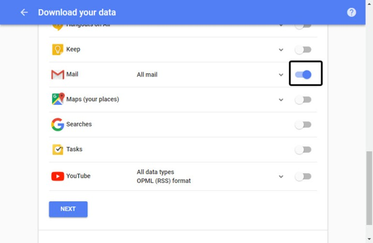 Google data you can back up with Google Takeout