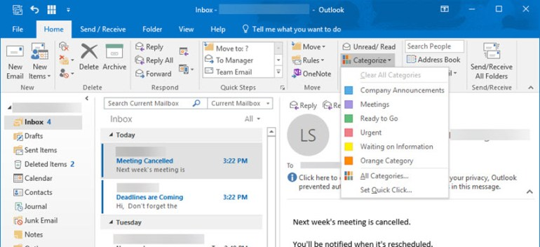 Renaming color categories in Outlook