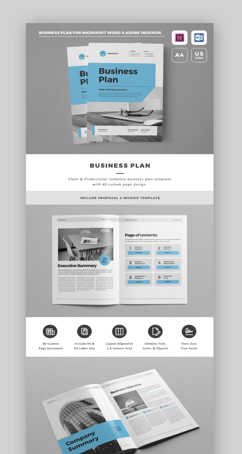 This Professional Business Plan Template Includes A First-Class Business  Proposal Template. You'll Get A 40-Page Indesign Business Template And A  32-Page