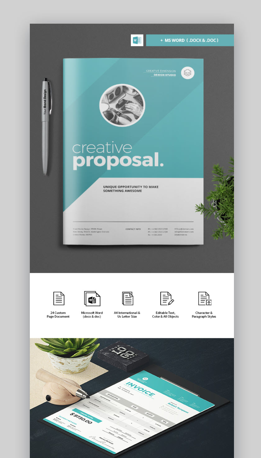 Contoh Proposal Word : contoh, proposal, Professional, Business, Project, Proposal, Templates, Modern, Pages