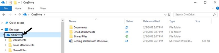 Finding Microsoft OneDrive in File Explorer