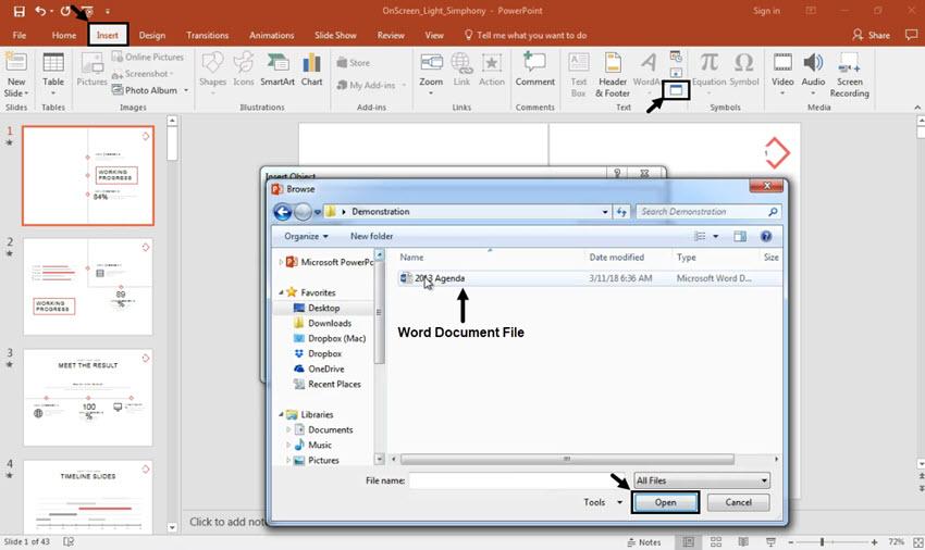 كيفية إدراج مستندات Word إلى Powerpoint خلال 60 ثانية فقط