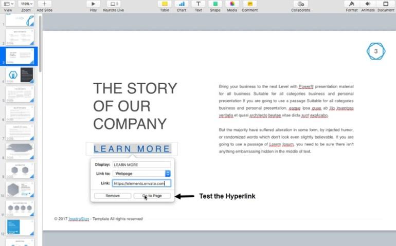 Test the Keynote web page hyperlink