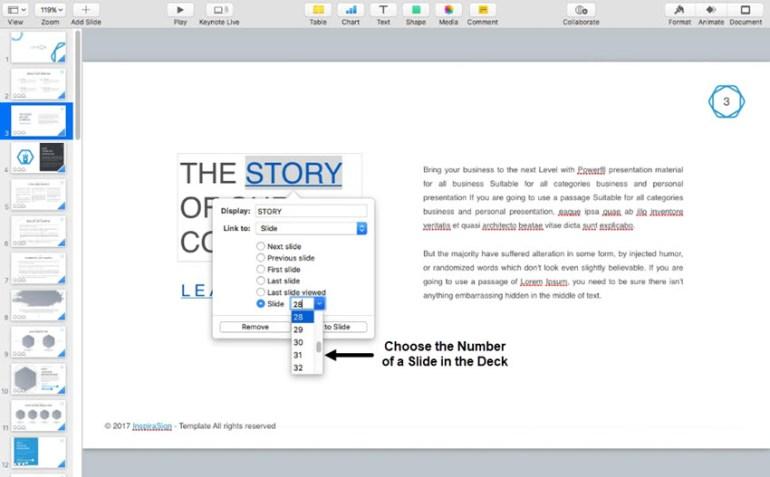 Keynote Hyperlink to a Slide