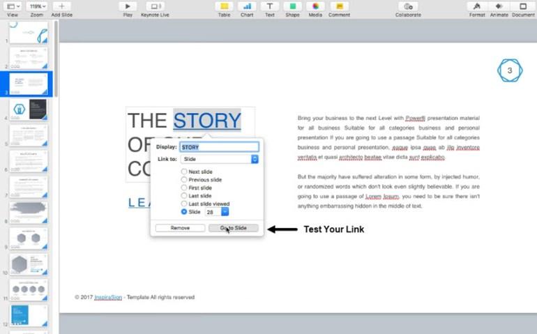 Test the slide Keynote hyperlink