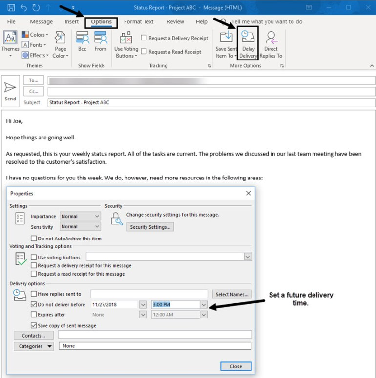 outlook tip for scheduling future delivery