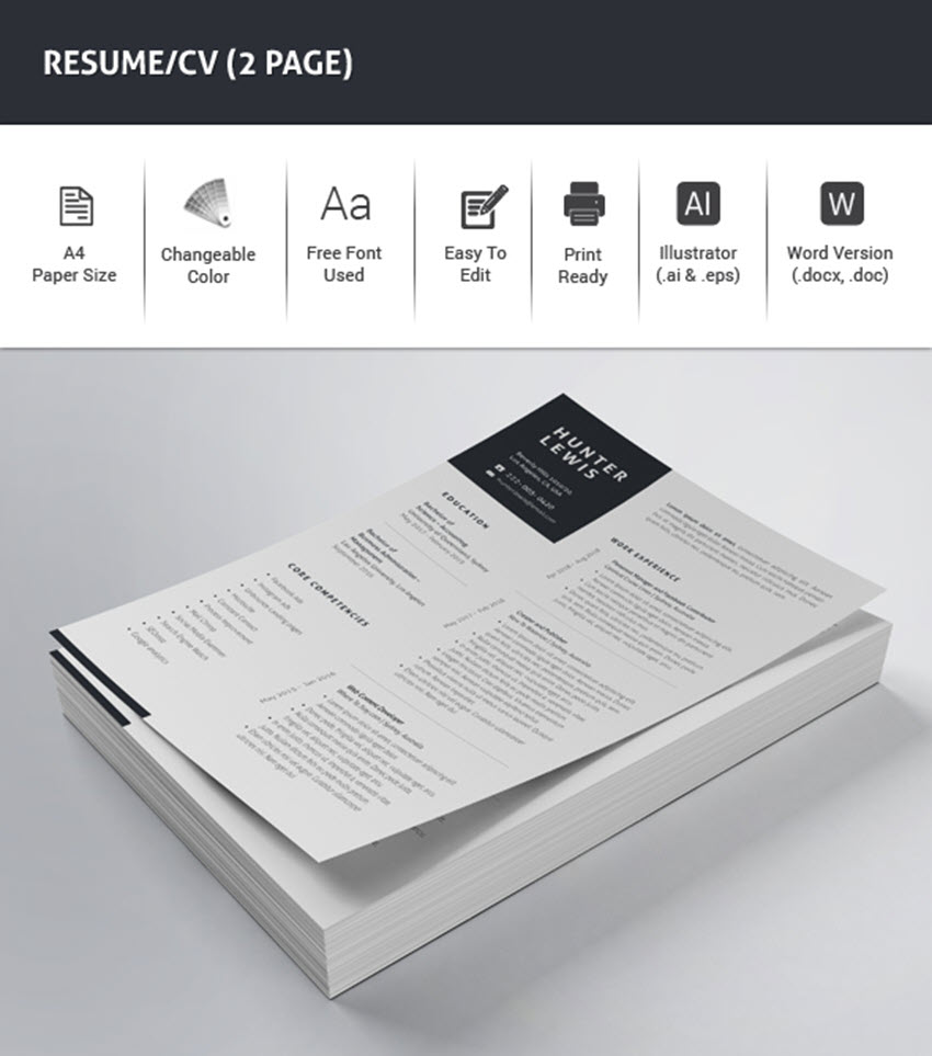 Template Of A Resume 25 Professional Ms Word Resume Templates With Simple Designs For 2019