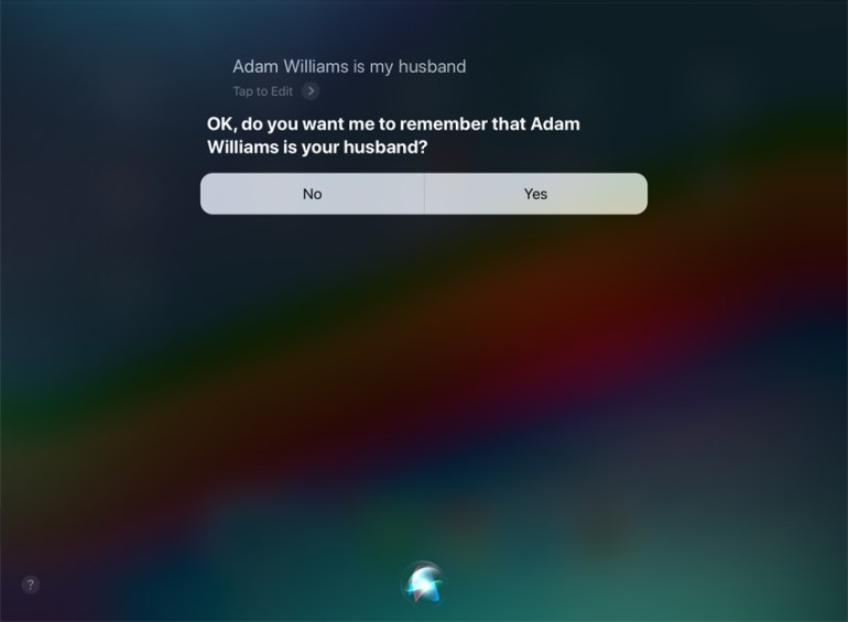 Siri Add a relationship