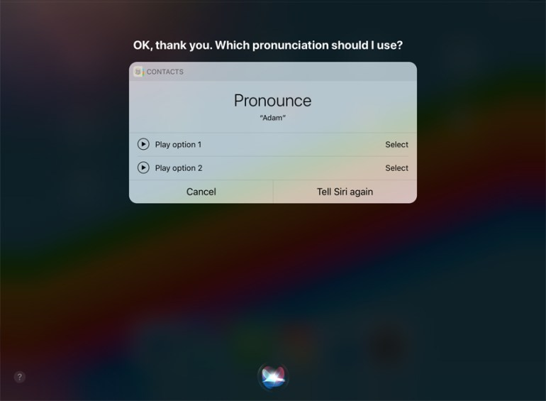 Siri name pronunciation