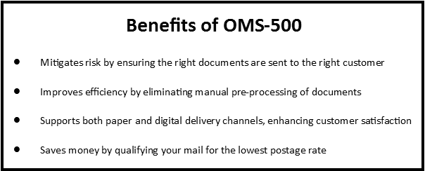 OMS-500 Benefits Box with bullet points