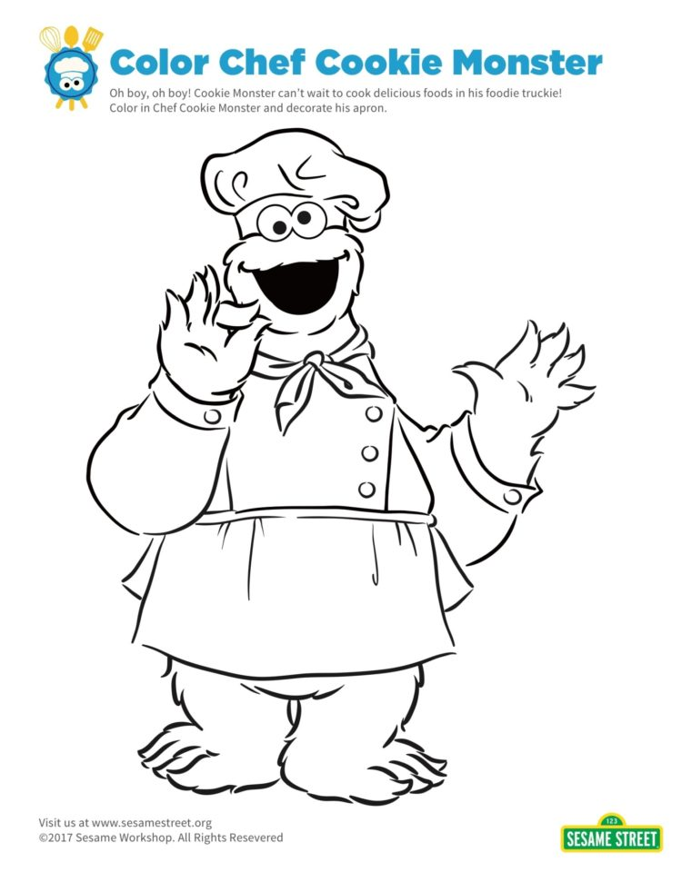 Chef Cookie Monster Coloring Page Kids Pbs Kids For Parents
