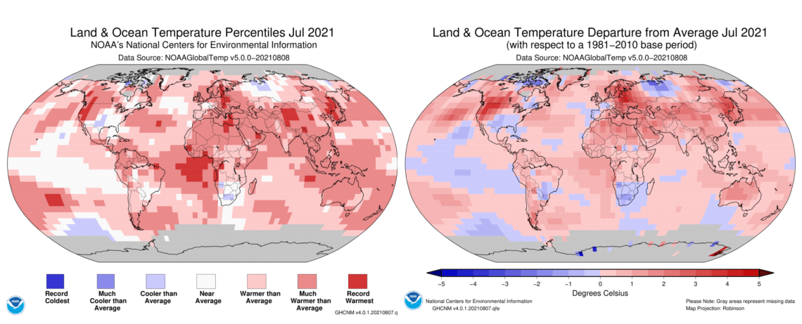 Land & Ocean Temperature Ranking & Departure From Average July 2021