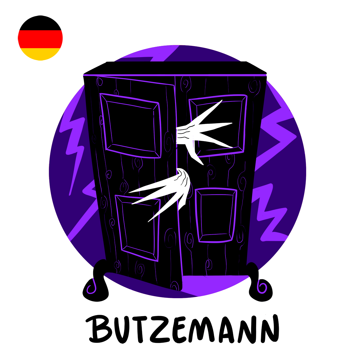 illustration of Butzemann, the german boogeyman, coming out of a wardrobe