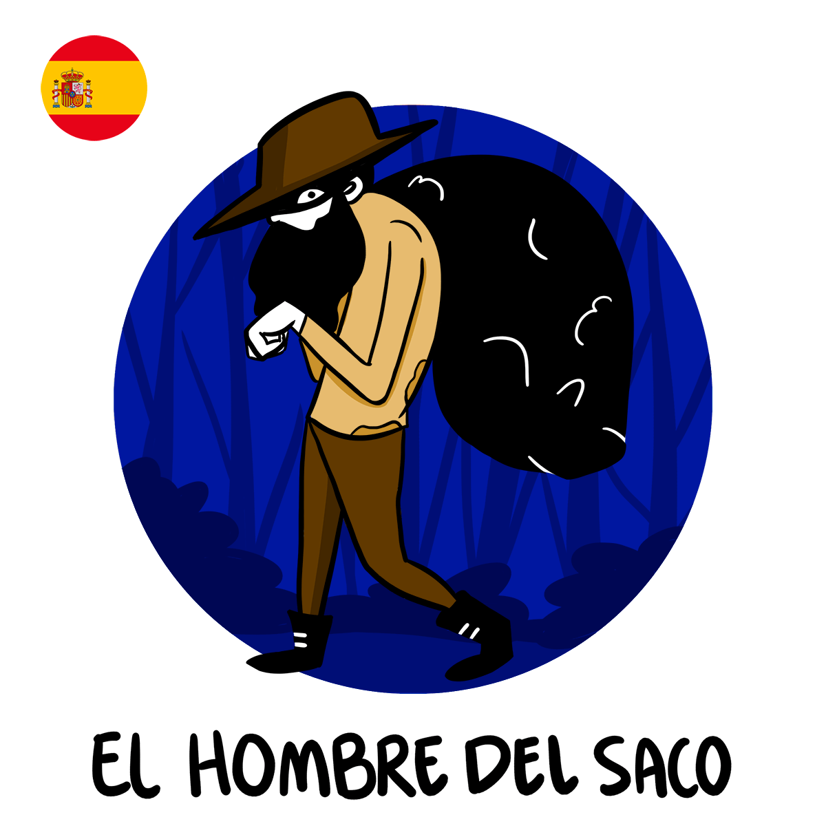 illlustration of Hombre del Saco, Spanish boogeyman