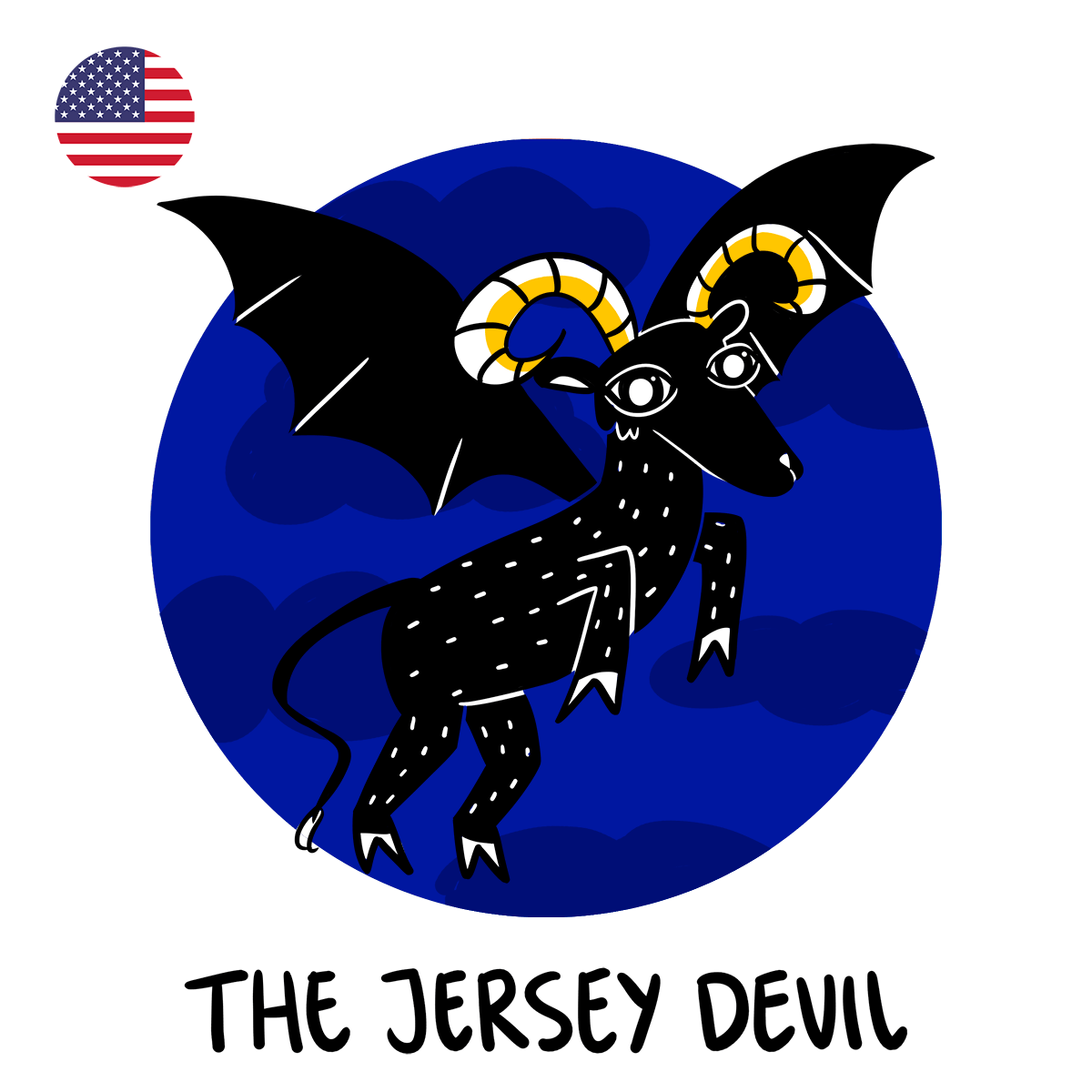 Jersey Devil illustration of goat with bat wings