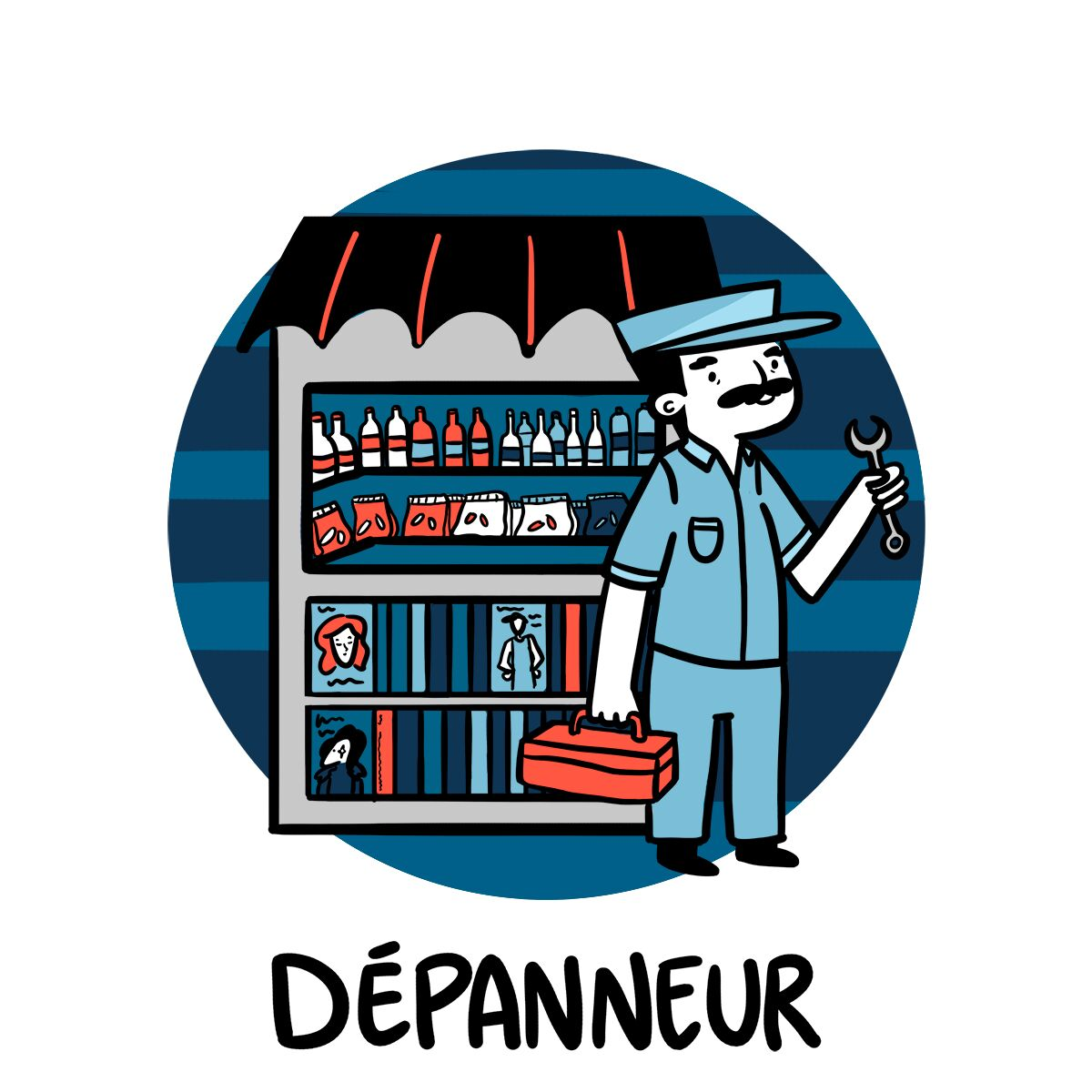 Un dépanneur est fier de son travail après avoir réparé un distributeur