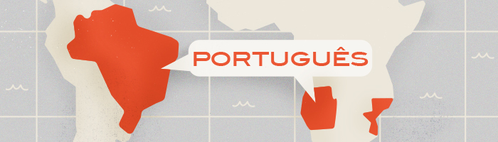 Map highlighting countries where Portuguese is spoken: Portugal, Brazil, Angola, Mozambique