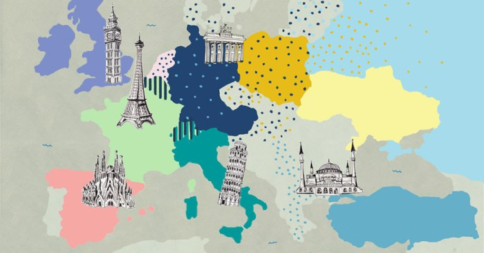 map of europe with landmarks most spoken languages in europe
