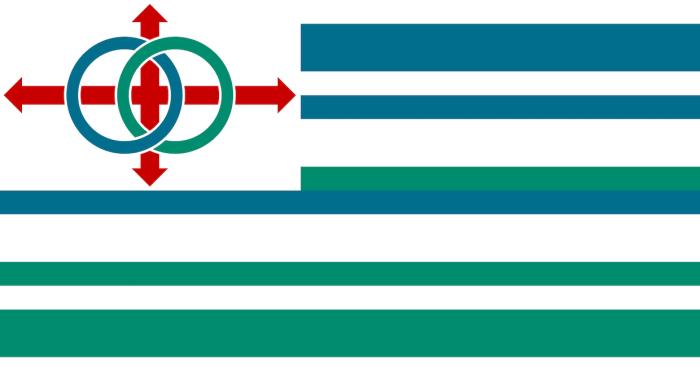 Le drapeau du Lojban reprend les valeurs d'universalisme propres à la langue