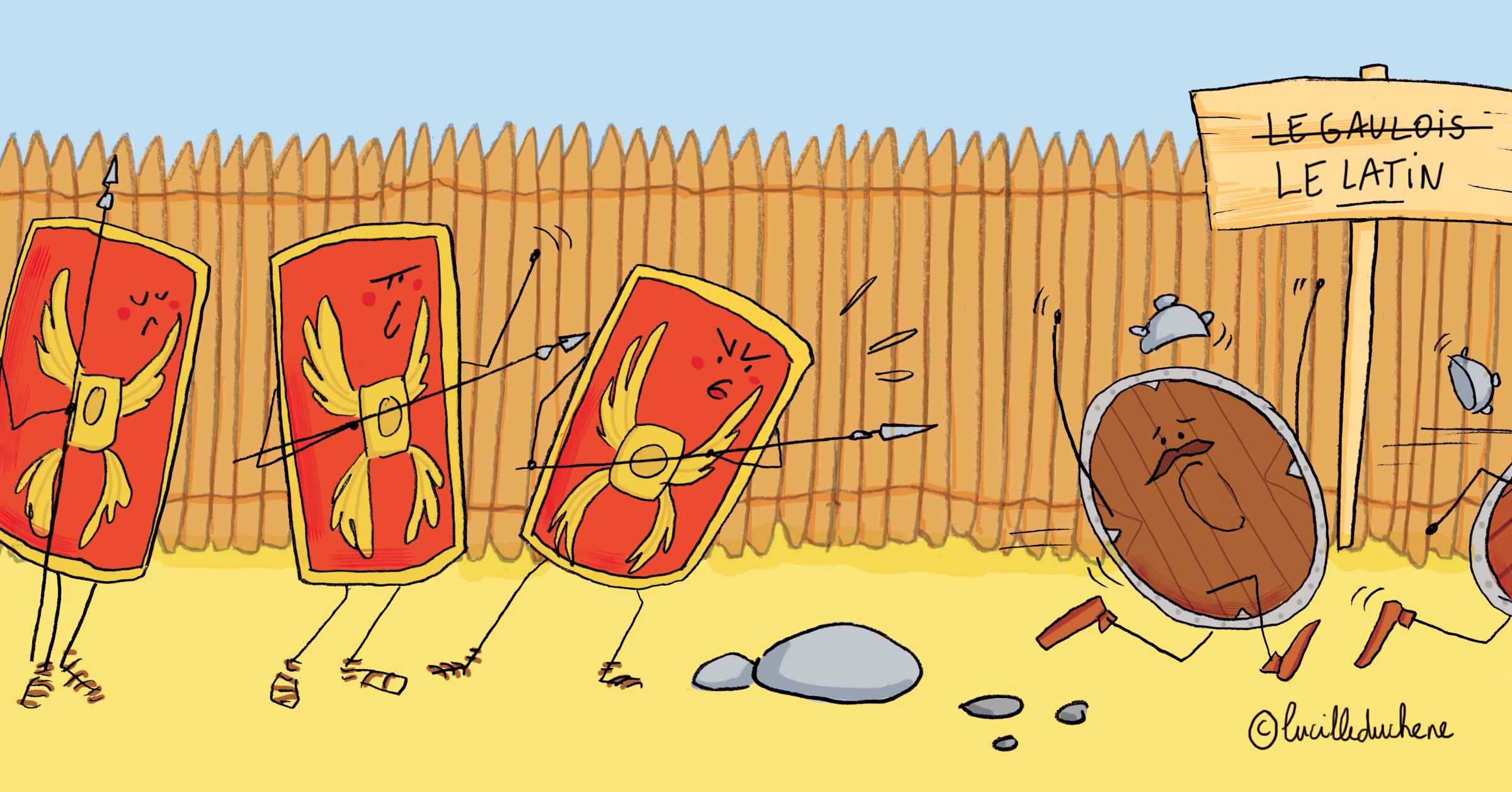 Trois boucliers romains font fuir des boucliers gaulois, symbole du remplacement du gaulois par le latin