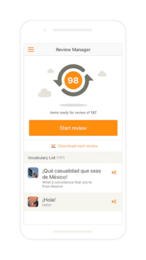 screenshot of Babbel review manager