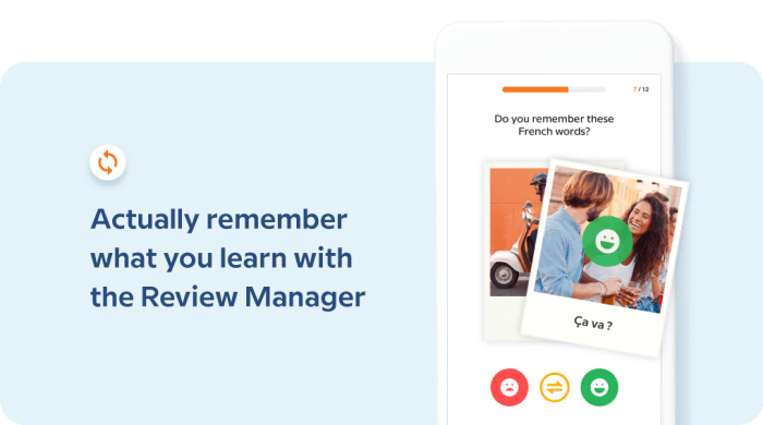 remember what you learn with the Review Manager