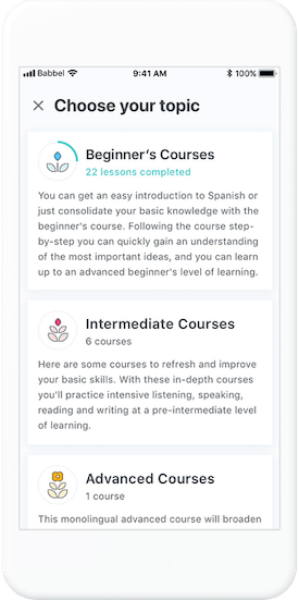 A peak inside the Babbel app that shows courses of different difficulty levels | Babbel