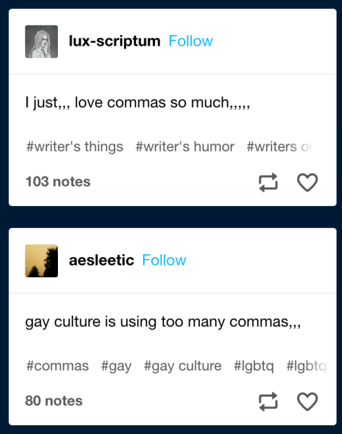 Two tumblr posts describing the comma ellipsis