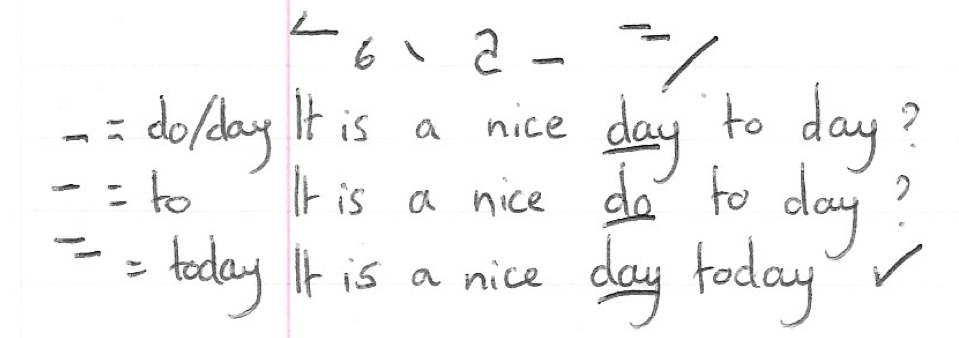 Day vs to in shorthand