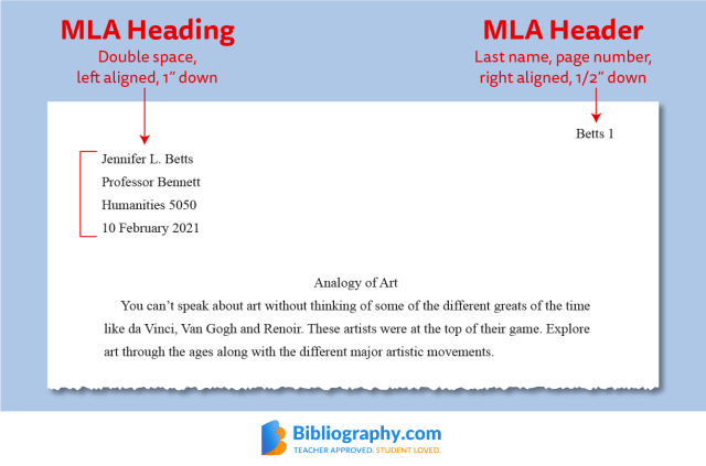 MLA Heading and Header Formats (With Examples)  Bibliography.com