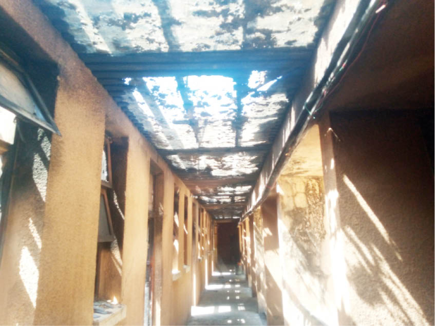 The corridor of the hostel after the inferno