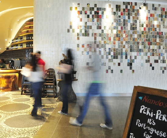 Cream wall tiles, Nando's Westfield Stratford City