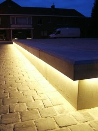 Bespoke LED concrete benches, Balgerhoeke village square ...